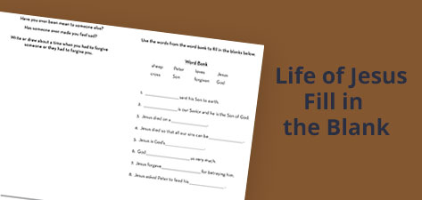 Life of Jesus Fill in the Blank