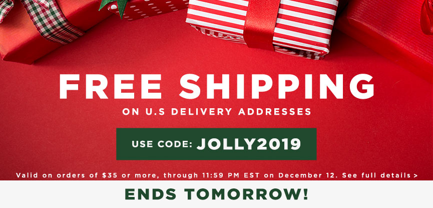 Ends Tomorrow Free Shipping