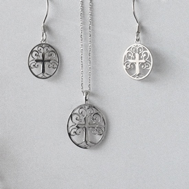 Sterling Necklace & Earrings Seet