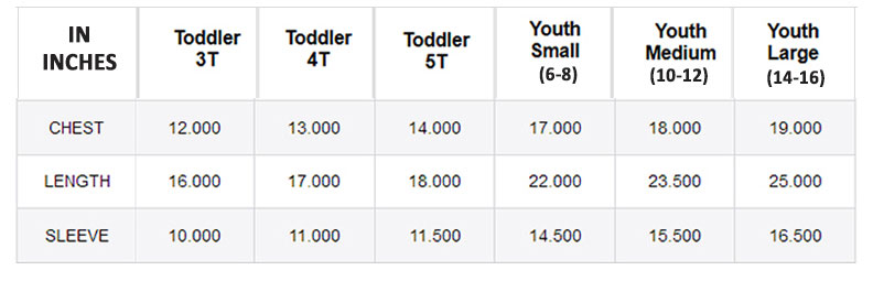 Kerusso Youth & Toddler Standard Sizing