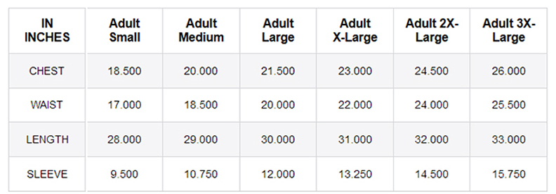 Kerusso Grace & Truth Sizing Chart