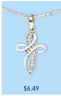 Crystal Swirl Cross Necklace
